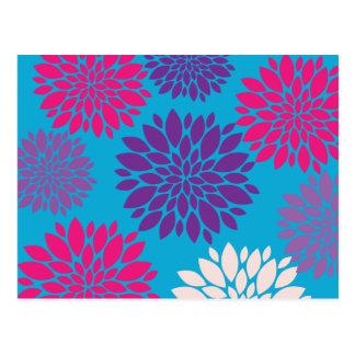 ティール(緑がかった色)の青のピンクおよび紫色の花 ポストカード