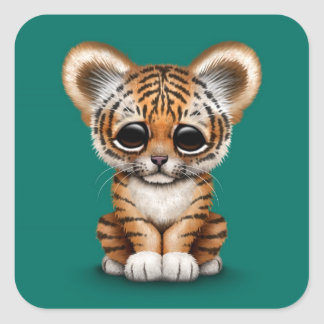ティール(緑がかった色)の青の愛らしいベビーの虎の子 スクエアシール