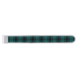 ティール(緑がかった色)の青の~の高地のタータンチェック シルバーネクタイピン