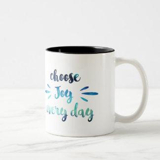 ティール(緑がかった色)の青は喜びのやる気を起こさせるな引用文を毎日選びます ツートーンマグカップ