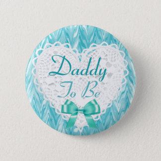 ティール(緑がかった色)の青色児のシャワーボタンがあるお父さん 5.7CM 丸型バッジ