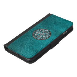 ティール(緑がかった色)の革およびケルト結び目模様のウォレットケース iPhone 6/6S PLUS ウォレットケース