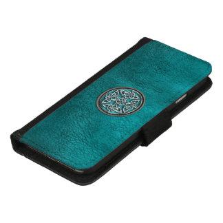 ティール(緑がかった色)の革およびケルト結び目模様のiPhoneのウォレットケース iPhone 8/7 ウォレットケース