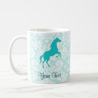 ティール(緑がかった色)の馬 コーヒーマグカップ