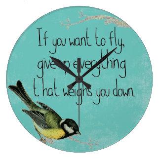 ティール(緑がかった色)の鳥の柱時計のやる気を起こさせるな感動的 ラージ壁時計