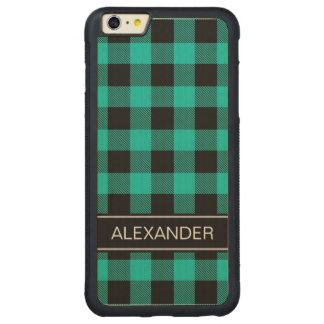 ティール(緑がかった色)の黒いバッファローの点検の格子縞の名前のモノグラム CarvedメープルiPhone 6 PLUSバンパーケース