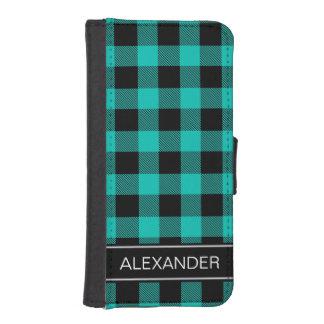 ティール(緑がかった色)の黒いバッファローの点検の格子縞の名前のモノグラム iPhoneSE/5/5sウォレットケース