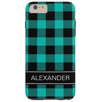 ティール(緑がかった色)の黒いバッファローの点検の格子縞の名前のモノグラム TOUGH iPhone 6 PLUS ケース