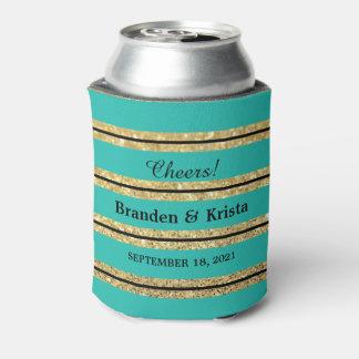 ティール(緑がかった色)の黒および金ゴールドのグリッターは結婚する|を縞で飾ります 缶クーラー