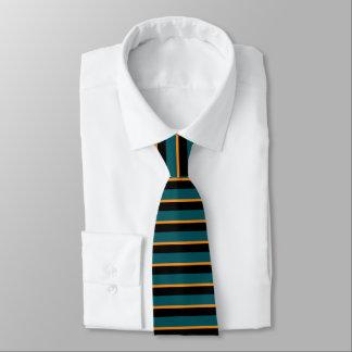ティール(緑がかった色)の黒および金ゴールドの横ストライプのなタイ オリジナルネクタイ