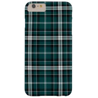 ティール(緑がかった色)の黒く及び白くスポーティな格子縞のiPhone 6のプラスの場合 Barely There iPhone 6 Plus ケース