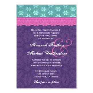 ティール(緑がかった色)の、ピンクおよび紫色のレースの結婚式のモノグラムG500D カード