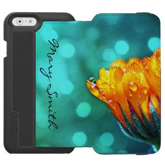 ティール(緑がかった色)の《写真》ぼけ味の*Personalize*の金マリーゴールド Incipio Watson™ iPhone 6 ウォレットケース