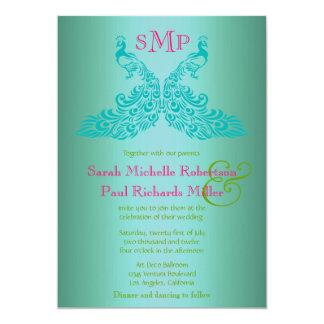ティール(緑がかった色)の、緑およびピンクの孔雀の結婚式招待状 カード