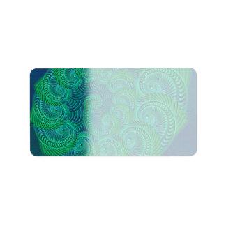 ティール(緑がかった色)の、青および緑の貝のグラフィック ラベル