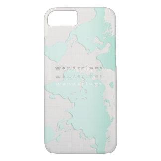 ティール(緑がかった色)の「wanderlust」の地図 iPhone 8/7ケース