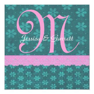 ティール(緑がかった色)のDIYのモノグラムV207を結婚するピンクの花のレース カード