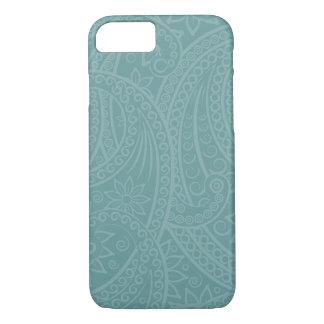 ティール(緑がかった色)のHennaの渦巻パターンiPhoneの場合 iPhone 8/7ケース