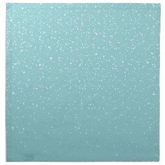 ティール(緑がかった色)のSnowyの暖かい冬の不思議の国 ナプキンクロス