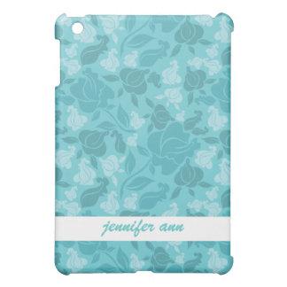 ティール(緑がかった色)はばら色のつる植物パターンを印刷しました iPad MINI カバー