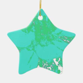 ティール(緑がかった色)またはBlue.Geenの花のダリアの花模様 セラミックオーナメント