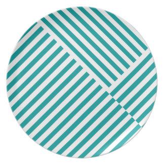 ティール(緑がかった色)ストライプなパターンプレート プレート