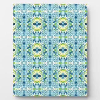 ティール(緑がかった色)レモン芸術的で幾何学的なフラクタルパターン フォトプラーク