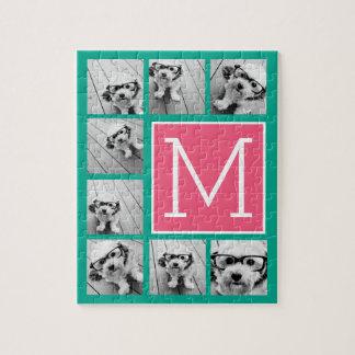 ティール(緑がかった色)及びショッキングピンクのInstagram 8の写真のコラージュのモノグラム ジグソーパズル
