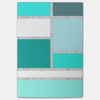 ティール(緑がかった色)及びターコイズの幾何学的なブロック ポストイット