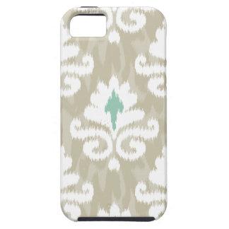 ティール(緑がかった色)及び暗灰色のイカットのターコイズの民族のBohoのプリント iPhone SE/5/5s ケース