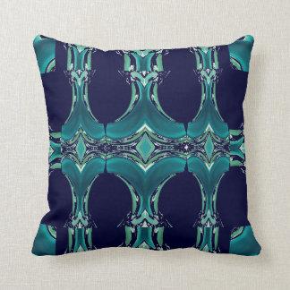 ティール(緑がかった色)及び濃紺のパターン枕4家 クッション
