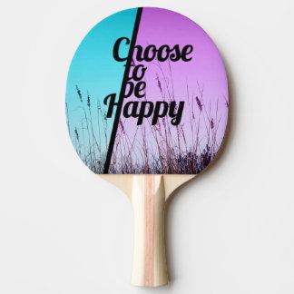 """""""ティール(緑がかった色)及び紫色の幸せな""""タイポグラフィがあることを選んで下さい 卓球ラケット"""