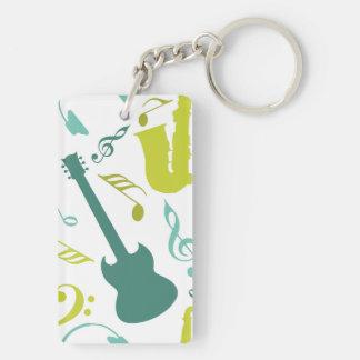 ティール(緑がかった色)及び緑のジャズ音楽のデザイン キーホルダー