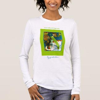 ティール(緑がかった色)及び蜜柑の女性のTシャツの花の歓喜 Tシャツ