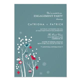 ティール(緑がかった色)及び赤い冬の雪の婚約パーティの招待状 カード