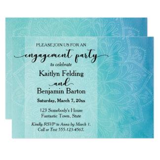 ティール(緑がかった色)及び青い水彩画の曼荼羅の婚約パーティ カード