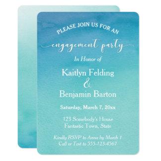 ティール(緑がかった色)及び青くグラデーションな水彩画の婚約パーティ カード