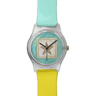 ティール(緑がかった色)木のヒトデ 腕時計
