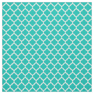 ティール(緑がかった色)、白いモロッコのクローバーパターン#5 Sz3 ファブリック