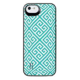 ティール(緑がかった色)白いMedのギリシャ人の鍵のDiag Tパターン#1 iPhone SE/5/5sバッテリーケース