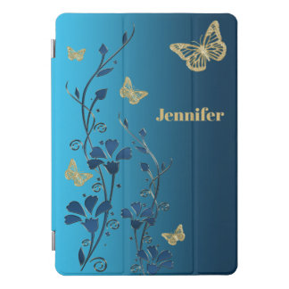 """ティール(緑がかった色)、金ゴールドの花柄、蝶10.5"""" iPadカバー iPad Proカバー"""