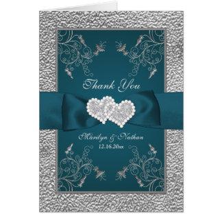 ティール(緑がかった色)、銀製の花の結婚式のサンキューカード ノートカード