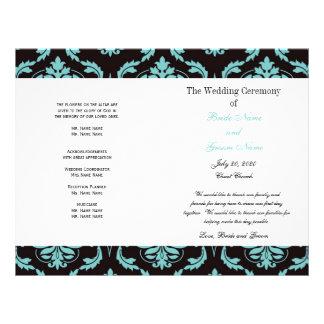 ティール(緑がかった色)|黒|ヴィンテージ|ダマスク織|結婚|プログラム パーソナライズチラシ広告