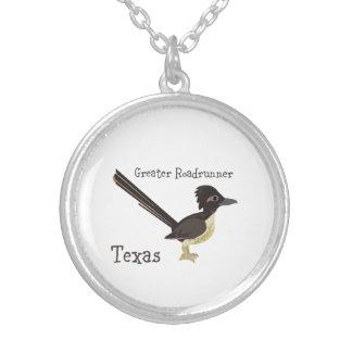 テキサス州のより素晴らしいロードランナー シルバープレートネックレス