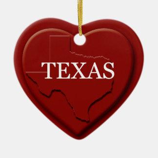 テキサス州のハートの地図のクリスマスのオーナメント セラミックオーナメント