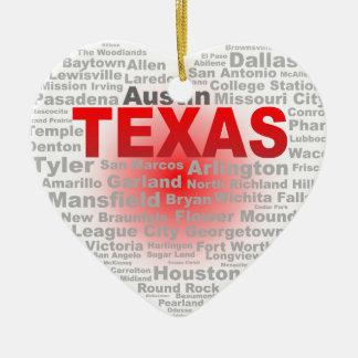テキサス州のハート セラミックオーナメント