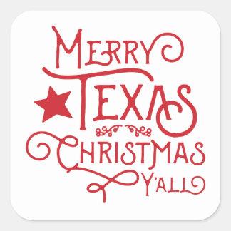 テキサス州のメリーなクリスマスステッカー スクエアシール