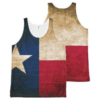 テキサス州のヴィンテージの素朴な旗 オールオーバープリントタンクトップ