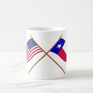 テキサス州の交差させた米国の28星および旗 コーヒーマグカップ