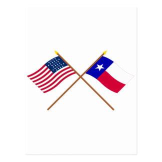 テキサス州の交差させた米国の28星および旗 ポストカード